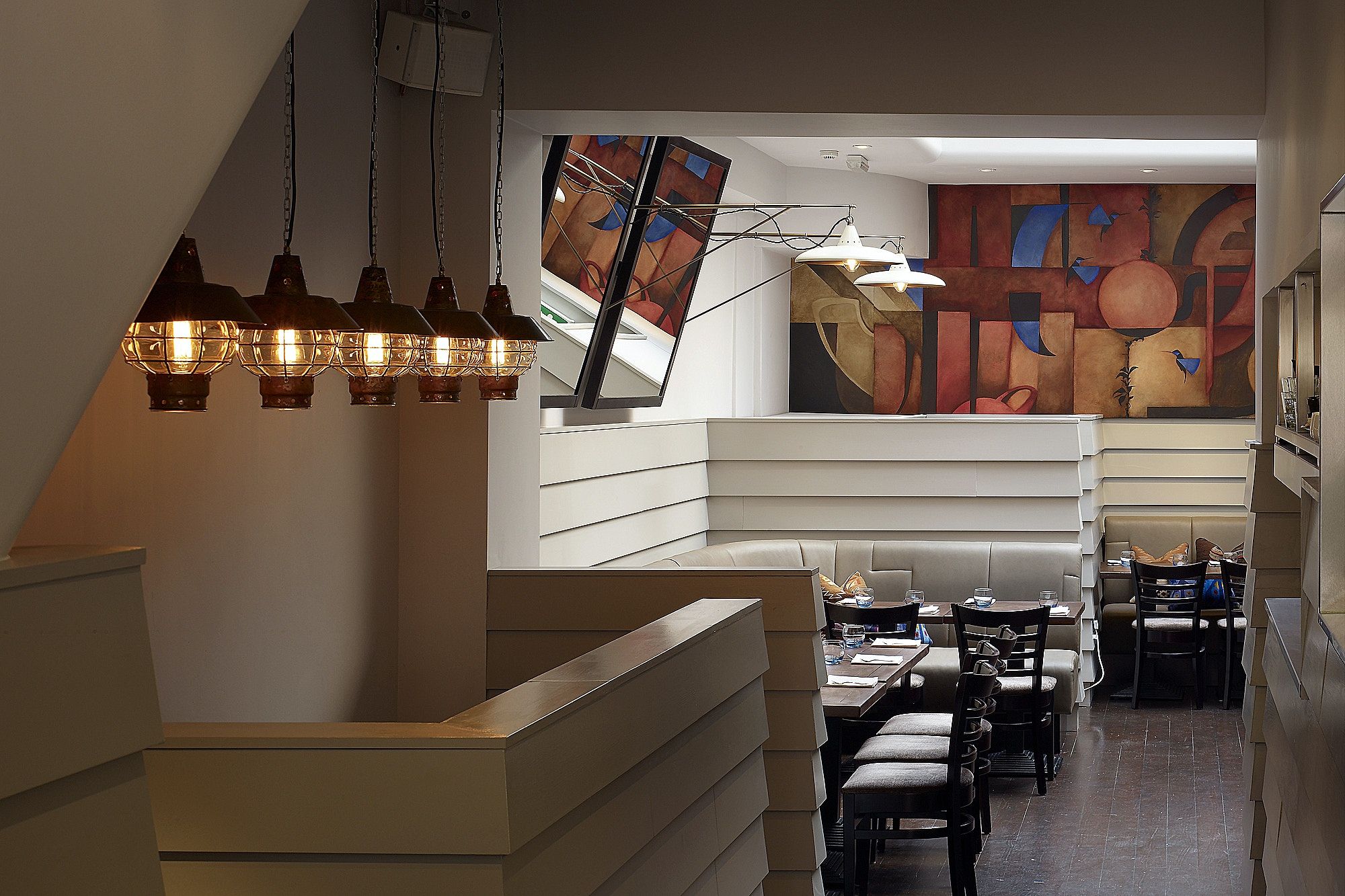 March-White-Restaurant-interior-stair